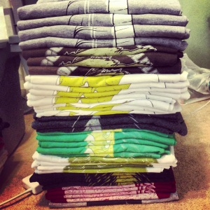 look at us, being all organized and productive with our neatly folded shirts.
