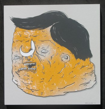 """The Fat Head"" by Karl Deuble.  Three color print on StoneHinge, 11"" x 11"". 1 of 10 prints. $70 framed, $35 unframed."